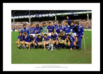 Everton FC 1987 League Champions Team Photo Memorabilia