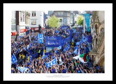 Leicester City 2016 Open Top Bus Winners Parade Photo Memorabilia