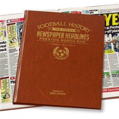 Personalised Preston North End Historic Newspaper Memorabilia Book
