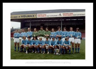 Manchester City 1970 Squad with Trophies Photo Memorabilia