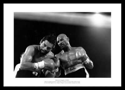 Marvin Hagler v Roberto Duran 1983 Boxing Photo