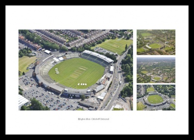 Edgbaston Cricket Ground Aerial Photo Memorabilia Montage