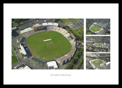 Old Trafford Cricket Ground Aerial Photo Memorabilia Montage