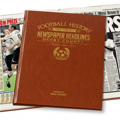 Personalised Derby County Historic Newspaper Memorabilia Book