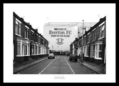 Everton FC Outside Goodison Park Stadium Photo Memorabilia