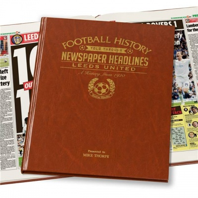 Personalised Leeds United Historic Newspaper Memorabilia Book