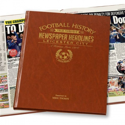 Personalised Leicester City Historic Newspaper Memorabilia Book