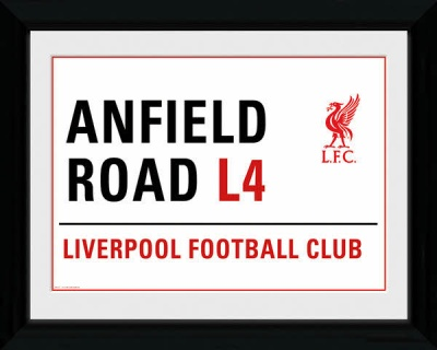 Anfield Stadium Street Sign Framed Print