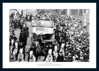 Manchester City 1969 FA Cup Final Open Top Bus Photo