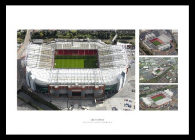 Old Trafford Stadium Aerial View Photo Montage