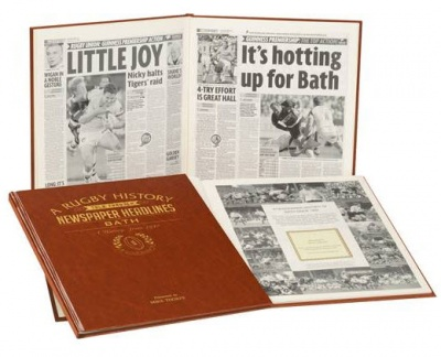 Personalised Bath Rugby Historic Newspaper Memorabilia Book