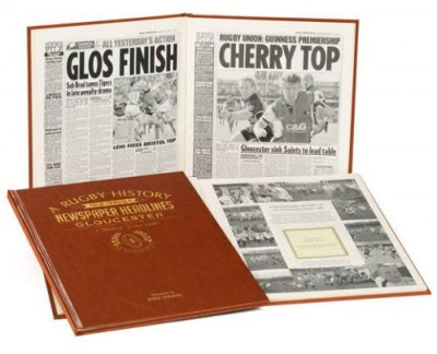 Personalised Gloucester Rugby Historic Newspaper Memorabilia Book