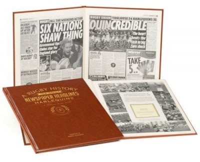 Personalised Harlequins Rugby Historic Newspaper Memorabilia Book