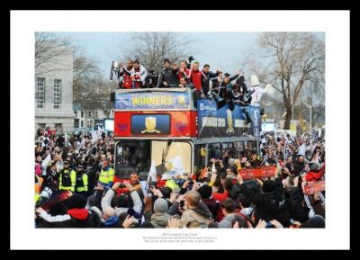 Swansea 2013 League Cup Open Top Bus Celebrations Photo Memorabilia