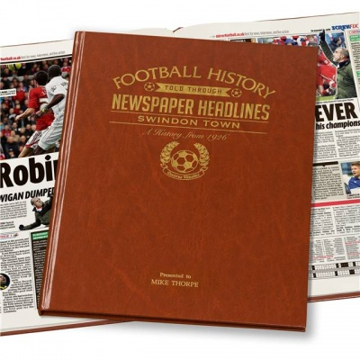 Personalised Swindon Town Historic Newspaper Memorabilia Book