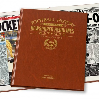Personalised Watford FC Historic Newspaper Memorabilia Book