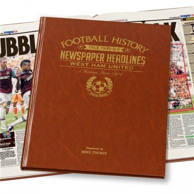 Personalised West Ham United Historic Newspaper Memorabilia Book