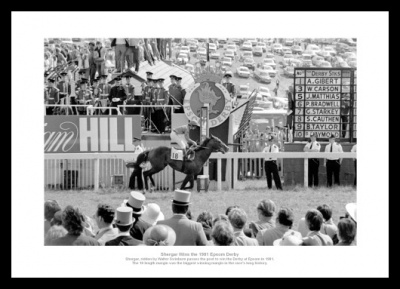 Shergar Wins the 1981 Epsom Derby Photo Memorabilia