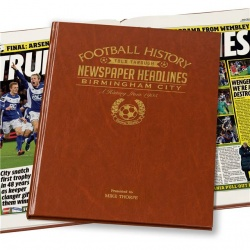 Personalised Birmingham City Historic Newspaper Memorabilia Book