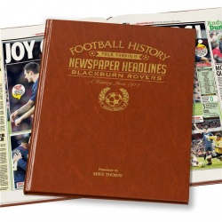 Personalised Blackburn Rovers Historic Newspaper Memorabilia Book