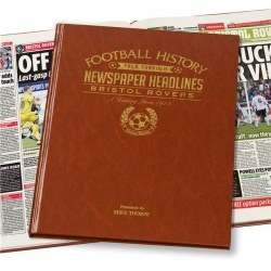 Personalised Bristol Rovers Historic Newspaper Memorabilia Book