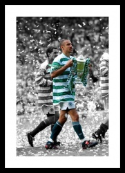 Henrik Larsson Last Celtic FC Game Spot Colour Photo Memorabilia