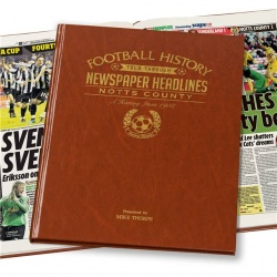 Personalised Notts County Historic Newspaper Memorabilia Book