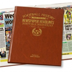 Personalised Sheffield Wednesday Historic Newspaper Memorabilia Book